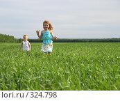 Купить «Счастливые дети бегут по полю», эксклюзивное фото № 324798, снято 13 июня 2008 г. (c) Juliya Shumskaya / Blue Bear Studio / Фотобанк Лори