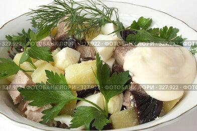 Купить «Салат из мяса, вареного картофеля, вареных яиц и чернослива в белой тарелке на белом фоне», фото № 327922, снято 13 ноября 2005 г. (c) Галина Михалишина / Фотобанк Лори