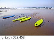 Купить «Атлантический океан. Доски для серфинга на пляже», фото № 329458, снято 24 июля 2006 г. (c) Татьяна Лата / Фотобанк Лори