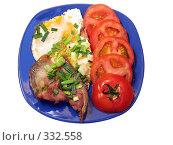 Купить «Бекон с яичницей и помидорами», фото № 332558, снято 17 июня 2008 г. (c) Владислав Семенов / Фотобанк Лори