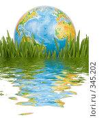 Купить «Глобус в зеленой траве на белом фоне», фото № 345202, снято 8 марта 2008 г. (c) Мельников Дмитрий / Фотобанк Лори
