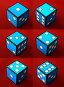 Шесть игральных кубиков на красном фоне, иллюстрация № 349306 (c) A Челмодеев / Фотобанк Лори