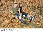 Купить «Роллеры сидят на листьях», фото № 351134, снято 30 сентября 2007 г. (c) Losevsky Pavel / Фотобанк Лори