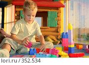 Купить «Мальчик играет в конструктор», фото № 352534, снято 21 сентября 2018 г. (c) Losevsky Pavel / Фотобанк Лори