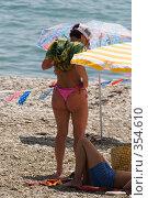 Купить «Девушка в купальнике на морском пляже. Курорт.», фото № 354610, снято 9 июля 2008 г. (c) Федор Королевский / Фотобанк Лори