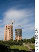 Купить «Строительство жилого комплекса», фото № 355634, снято 11 июля 2008 г. (c) Сергей Васильев / Фотобанк Лори