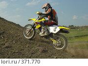 Купить «Мотоциклист эндуро, подъём по крутому склону», фото № 371770, снято 21 июля 2008 г. (c) Талдыкин Юрий / Фотобанк Лори