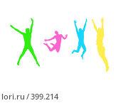 Купить «Четыре разноцветных человека на белом фоне», иллюстрация № 399214 (c) Дмитрий Иванов / Фотобанк Лори