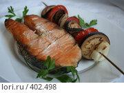 Купить «Рыба с овощами на гриле крупным планом», фото № 402498, снято 3 августа 2008 г. (c) Svetlana Bachkala / Фотобанк Лори