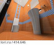 Купить «Интерьер оранжевой ванной комнаты», иллюстрация № 414646 (c) Hemul / Фотобанк Лори