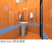 Купить «Интерьер оранжевой ванной комнаты», иллюстрация № 414658 (c) Hemul / Фотобанк Лори