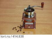 Купить «Кофемолка ручная и зерна кофе», фото № 414838, снято 21 августа 2008 г. (c) Татьяна Дигурян / Фотобанк Лори