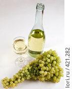 Купить «Гроздья винограда и белое вино в бокале», фото № 421282, снято 23 августа 2008 г. (c) Воробьева Анна / Фотобанк Лори