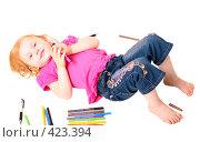 Купить «Ребёнок с карандашами», фото № 423394, снято 22 августа 2008 г. (c) Эдуард Жлобо / Фотобанк Лори