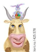 Купить «Пасхальная корова с пасхальным кроликом и пасхальными яйцами», иллюстрация № 425578 (c) Олеся Сарычева / Фотобанк Лори