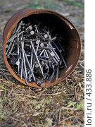 Купить «Ржавая банка с новыми гвоздями», фото № 433886, снято 21 июня 2008 г. (c) Круглов Олег / Фотобанк Лори