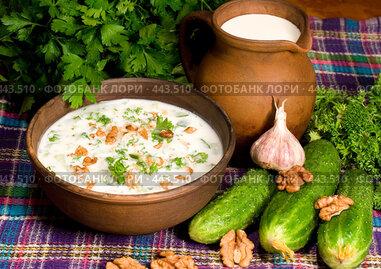 Купить «Суп таратор. Национальная болгарская кухня», фото № 443510, снято 6 сентября 2008 г. (c) Михаил Котов / Фотобанк Лори