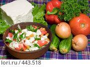 Купить «Шопский салат. Национальная болгарская кухня.», фото № 443518, снято 6 сентября 2008 г. (c) Михаил Котов / Фотобанк Лори