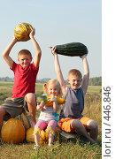 Купить «Дети  с тыквами», фото № 446846, снято 7 сентября 2008 г. (c) Майя Крученкова / Фотобанк Лори