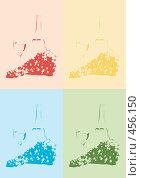 Купить «Гроздья винограда и белое вино в бокале. Силуэты. Иллюстрация.», иллюстрация № 456150 (c) Воробьева Анна / Фотобанк Лори