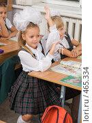 Купить «Первоклассница на уроке подняла руку», фото № 465334, снято 18 сентября 2008 г. (c) Федор Королевский / Фотобанк Лори
