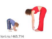 Купить «Семья занимается физкультурой», фото № 465714, снято 5 июня 2020 г. (c) Losevsky Pavel / Фотобанк Лори