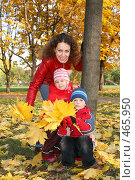 Купить «Мама с детьми в осеннем парке», фото № 465950, снято 17 июня 2019 г. (c) Losevsky Pavel / Фотобанк Лори