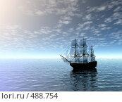 Купить «Корабль в море», иллюстрация № 488754 (c) ElenArt / Фотобанк Лори
