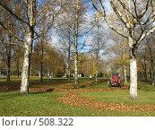 Уборка осенних листьев в парке, фото № 508322, снято 13 октября 2008 г. (c) Людмила Жмурина / Фотобанк Лори
