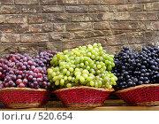 Разноцветный виноград на фоне кирпичной стены. Стоковое фото, фотограф Марина Коробанова / Фотобанк Лори