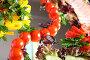 Овощная и мясная нарезки на зеркале, фото № 520670, снято 19 сентября 2008 г. (c) Vdovina Elena / Фотобанк Лори