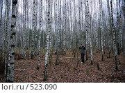 Фотограф в осеннем березовом лесу (2008 год). Редакционное фото, фотограф Игорь Гришаев / Фотобанк Лори