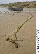 Купить «Рыбацкая лодка во время отлива», фото № 524138, снято 21 сентября 2008 г. (c) Владимир Власов / Фотобанк Лори