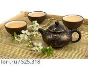 Купить «Чай зеленый, сервированный в глиняных чашках и чайнике на деревянном подносе. Изолировано на белом фоне», фото № 525318, снято 29 апреля 2008 г. (c) Татьяна Белова / Фотобанк Лори