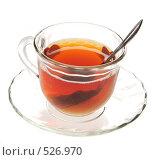 Купить «Чашка с чаем на белом фоне», эксклюзивное фото № 526970, снято 1 августа 2008 г. (c) Катерина Белякина / Фотобанк Лори