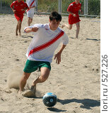 Купить «Пляжный футбол», фото № 527226, снято 9 августа 2008 г. (c) Виктор Филиппович Погонцев / Фотобанк Лори