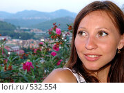 Девушка с видом на Таврические горы. Стоковое фото, фотограф Александр Тимофеев / Фотобанк Лори