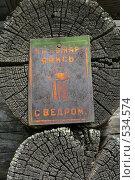 Купить «Табличка на деревенском доме», фото № 534574, снято 17 июня 2008 г. (c) Ханыкова Людмила / Фотобанк Лори