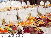 Купить «Банкетный стол», фото № 540346, снято 9 августа 2008 г. (c) паша семенов / Фотобанк Лори