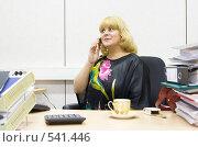 Купить «Женщина разговаривает по сотовому телефону», фото № 541446, снято 31 октября 2008 г. (c) Михаил Котов / Фотобанк Лори