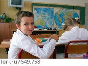 Купить «Мальчик и девочка за  партой в школе на уроке географии», фото № 549758, снято 23 августа 2008 г. (c) Татьяна Белова / Фотобанк Лори