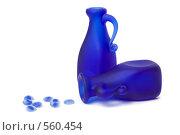 Купить «Два синих стеклянных кувшина и камушки», фото № 560454, снято 13 ноября 2008 г. (c) Дмитрий Боев / Фотобанк Лори