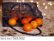 Купить «Мандарины в синей блестящей сумочке», фото № 565502, снято 16 ноября 2008 г. (c) Даша Богословская / Фотобанк Лори