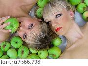 Купить «Две блондинки и яблоки», фото № 566798, снято 12 октября 2008 г. (c) Михаил Мандрыгин / Фотобанк Лори