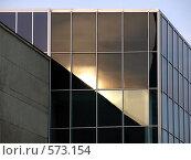 Отражение заката на зеркальной стене. Стоковое фото, фотограф Александр Кралин / Фотобанк Лори