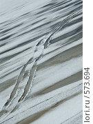 Северная Двина. Следы машины на льду. Стоковое фото, фотограф Иван Алферов / Фотобанк Лори