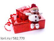 Купить «Маленький плюшевый снеговичок на коробочках с подарками», эксклюзивное фото № 582770, снято 26 января 2006 г. (c) Сайганов Александр / Фотобанк Лори