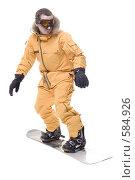 Купить «Сноубордист в оранжевом комбинезоне на белом фоне», фото № 584926, снято 30 декабря 2007 г. (c) Лисовская Наталья / Фотобанк Лори
