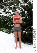 Купить «Закаливание, девушка на снегу», фото № 590094, снято 25 ноября 2008 г. (c) Татьяна Баранова / Фотобанк Лори
