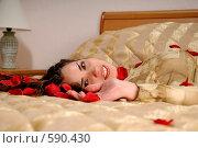 Купить «Лицо девушки в лепестках роз», фото № 590430, снято 29 августа 2008 г. (c) Михаил Малышев / Фотобанк Лори